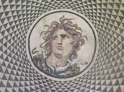 23 Rosone centrale del mosaico, testa di medusa